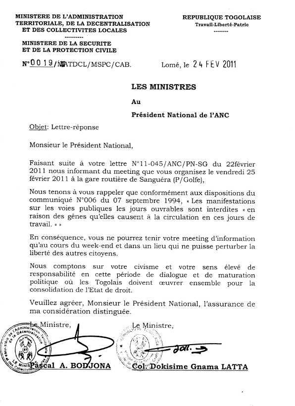 lettre administrative a un ministre