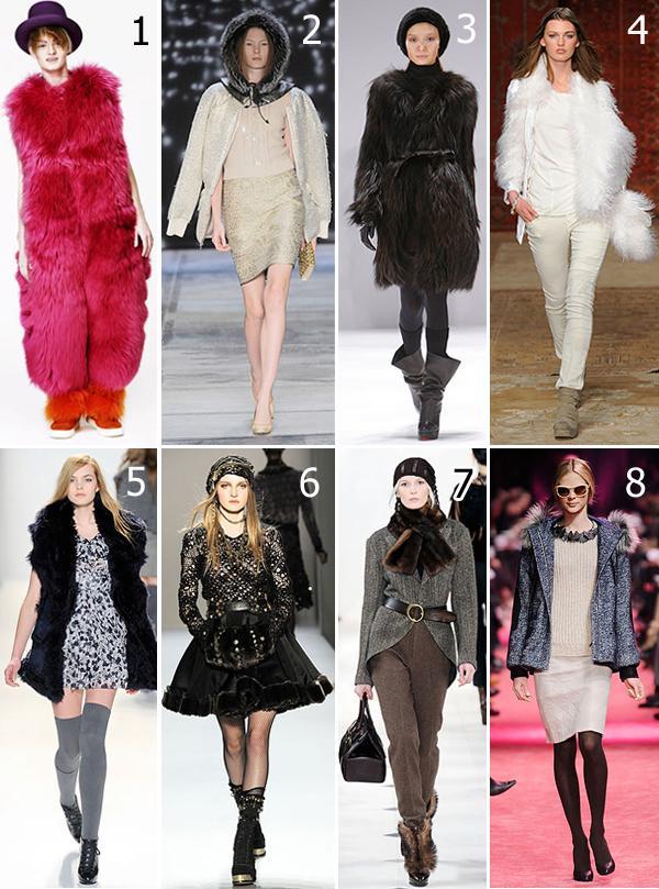 Inverno 2010 de: (1) Louise Gray; (2) Isaac Mizrahi; (3) J. Mendel; (4)Erin Wasson x RVCA; (5) Cynthia Steffe; (6) Alexandre Herchcovitch; (7) Ralph Lauren; (8) Jason Wu