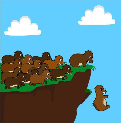 Ilustração do suicídio dos lêmingues. Foto: Shutterstock