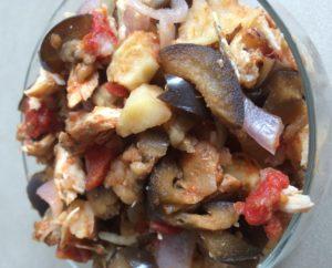 Chicken potato eggplant bowl