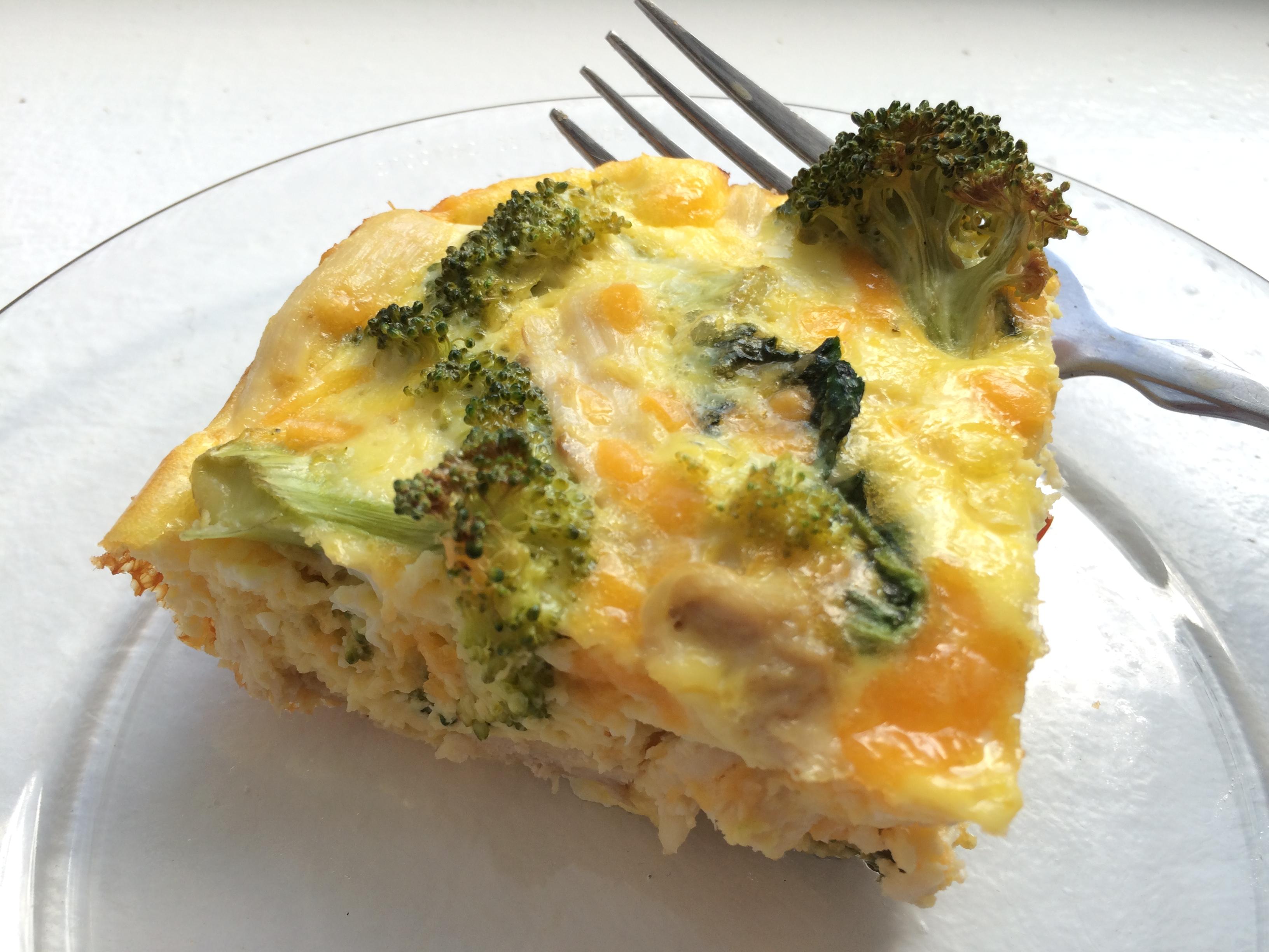 Broccoli chicken and cheese frittata and a dash of cinnamon