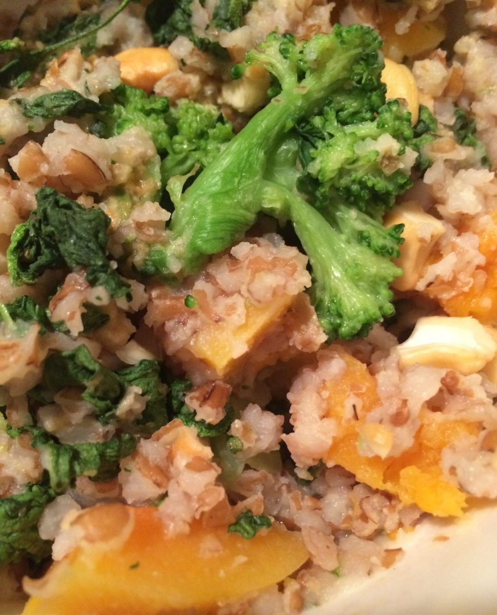 Butternut Squash, Cashews and Greens Bulgur Bowl with Tahini [Vegan, Clean]