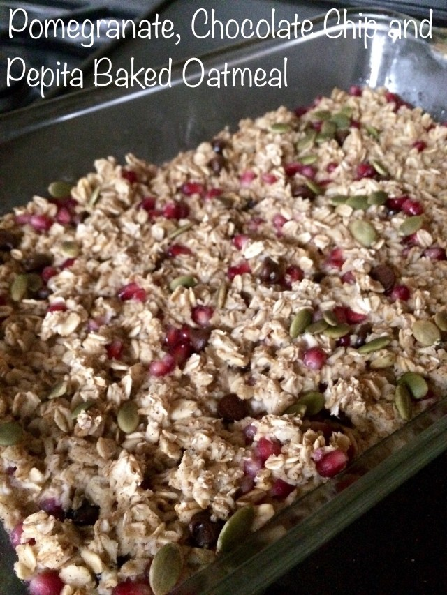 Pomegranate, Chocolate Chip and Pepita Baked Oatmeal [Clean, Vegan, Gluten-Free]