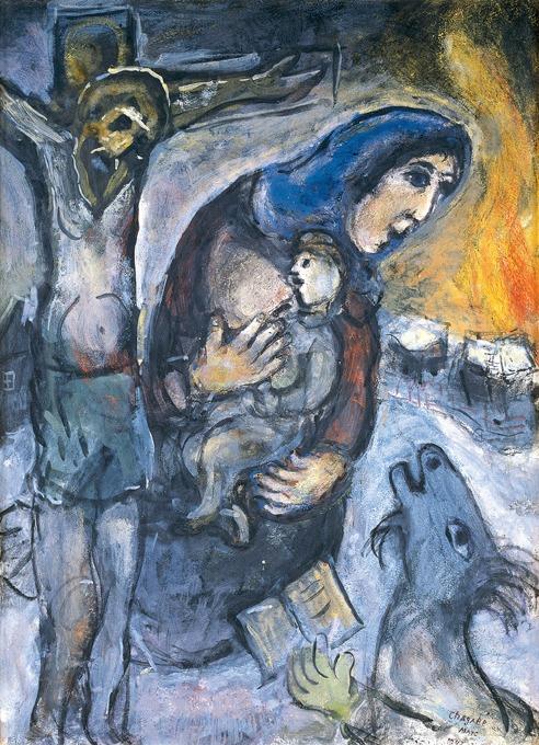 Marc Chagall, El Crucifijo (Entre Dios y el diablo), 1943