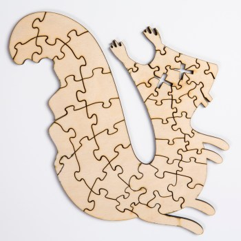 Custom laser-cut squirrel puzzle