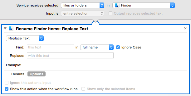 Automator window with settings for renaming files
