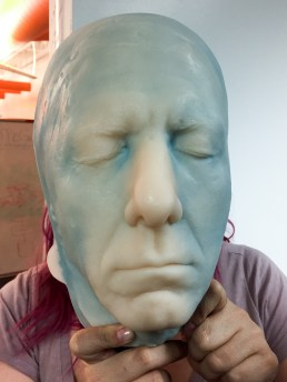 A casting made of Dustin Hoffman's face. The first layer was SC325 with flesh color added. Foam iT!5 was used as a backfill material, and was tinted blue at the request of someone inthe class. The skin-toned first layer was too thin to be opaque.