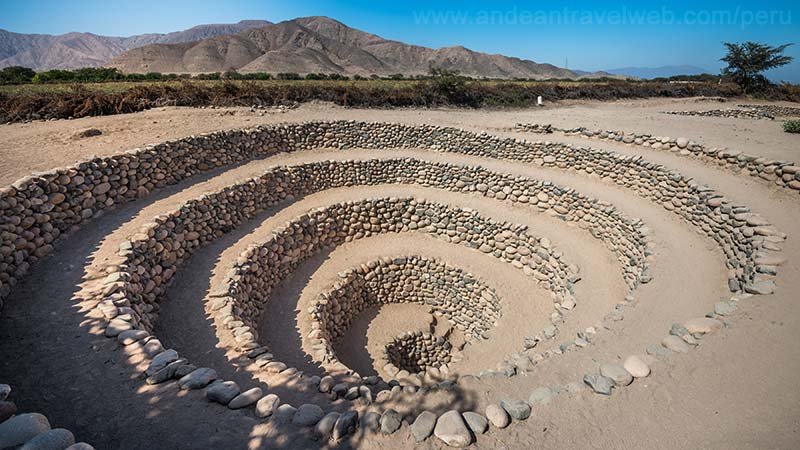 The Aqueduct system of Nasca in Peru a natural stone labyrinth of descending spiral