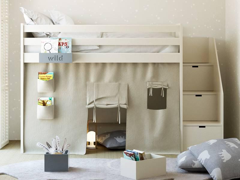lit mezzanine enfant avec etagere