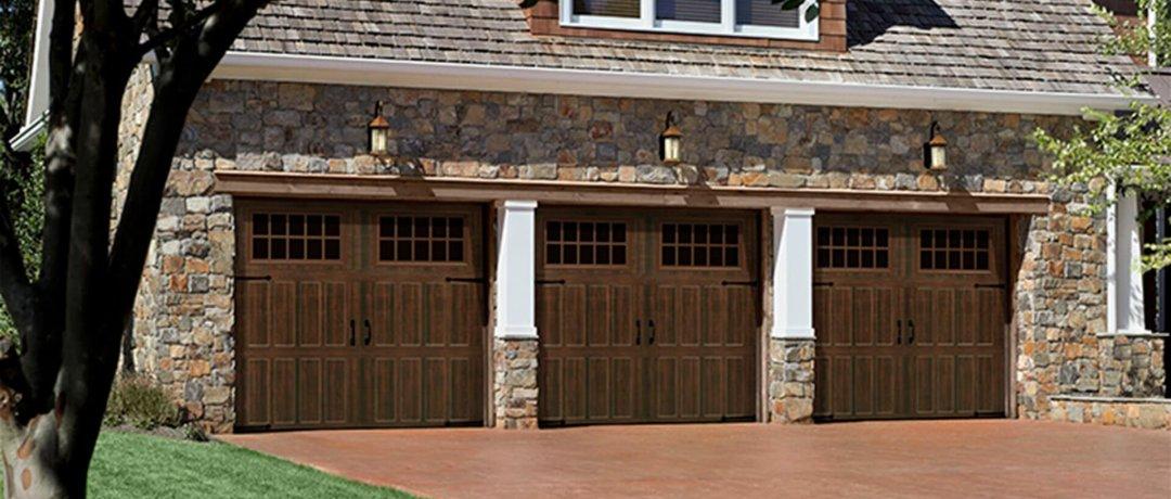house with new garage door