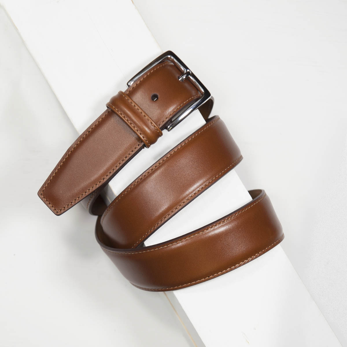 3,5 cm CLASSIC TAN STITCHED BELT