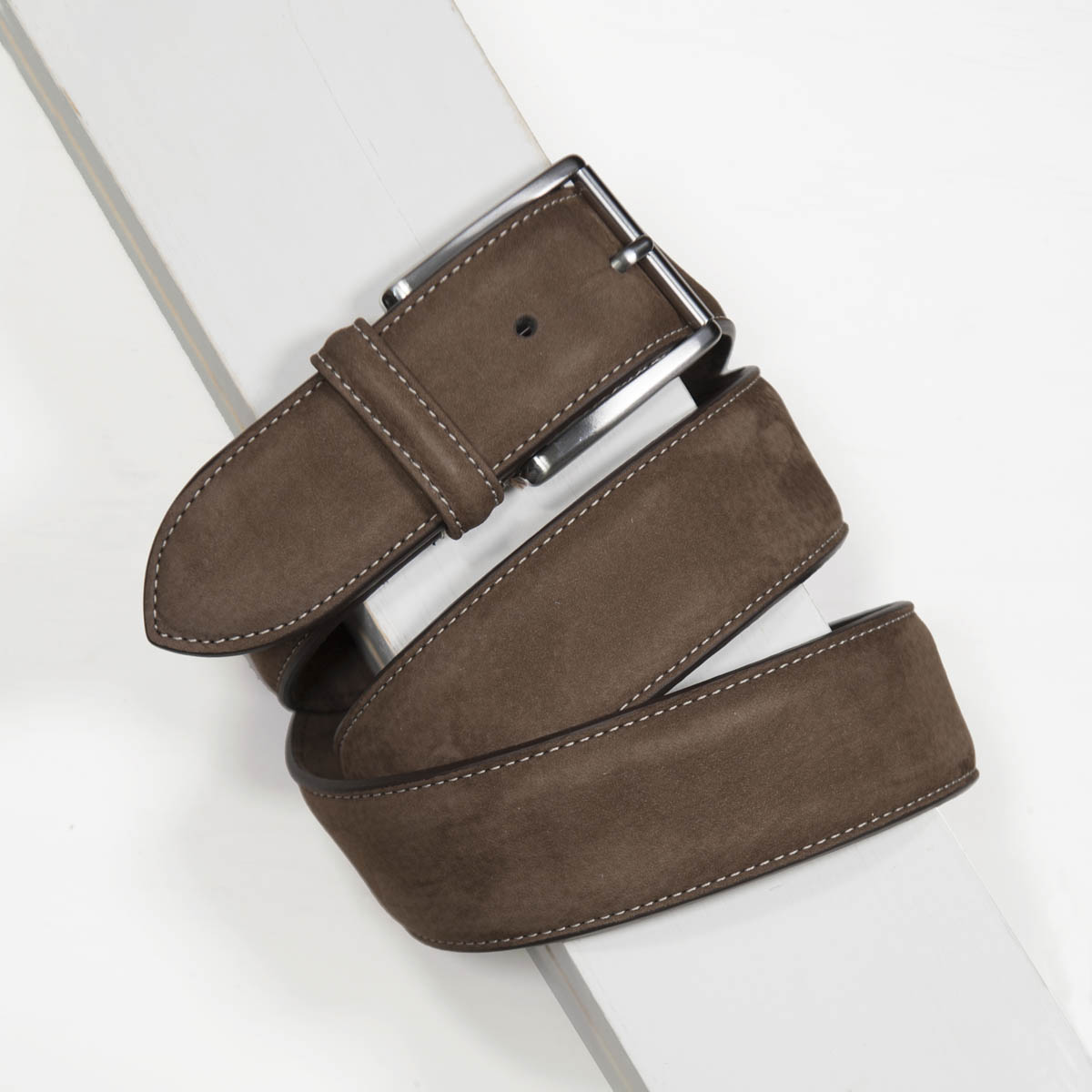 4,0 cm BROWN NUBUCK STITCHED BELT