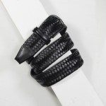 3,5 cm STRETCH WOVEN BLACK LEATHER BELT