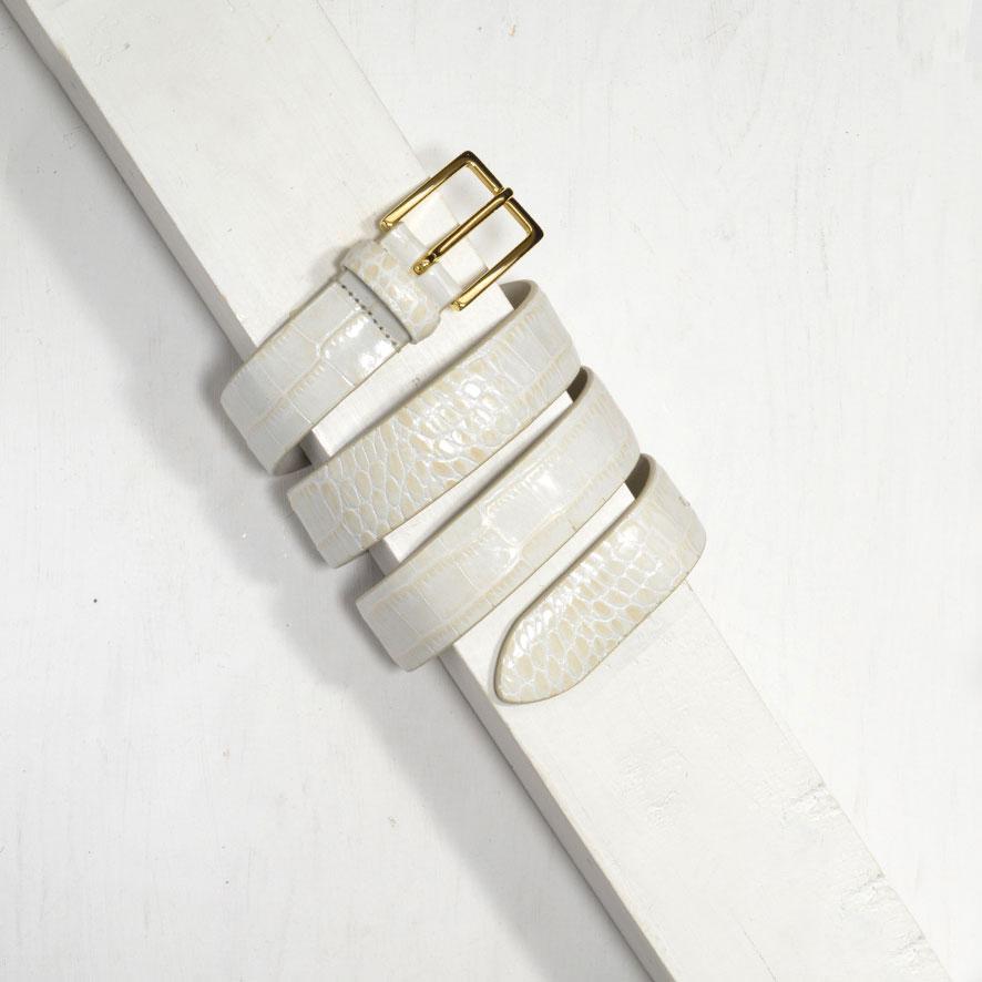 3,0 cm OFF WHITE MOCK CROC LEATHER BELT