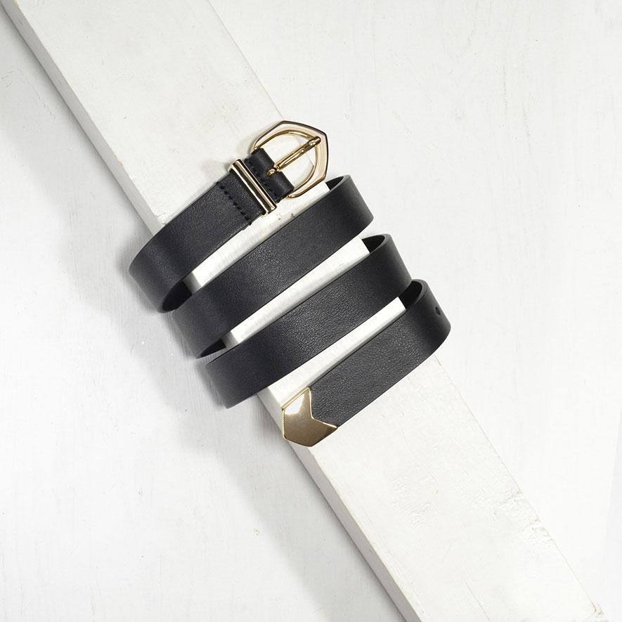 2,5 cm BLACK MODERN COWBOY BELT