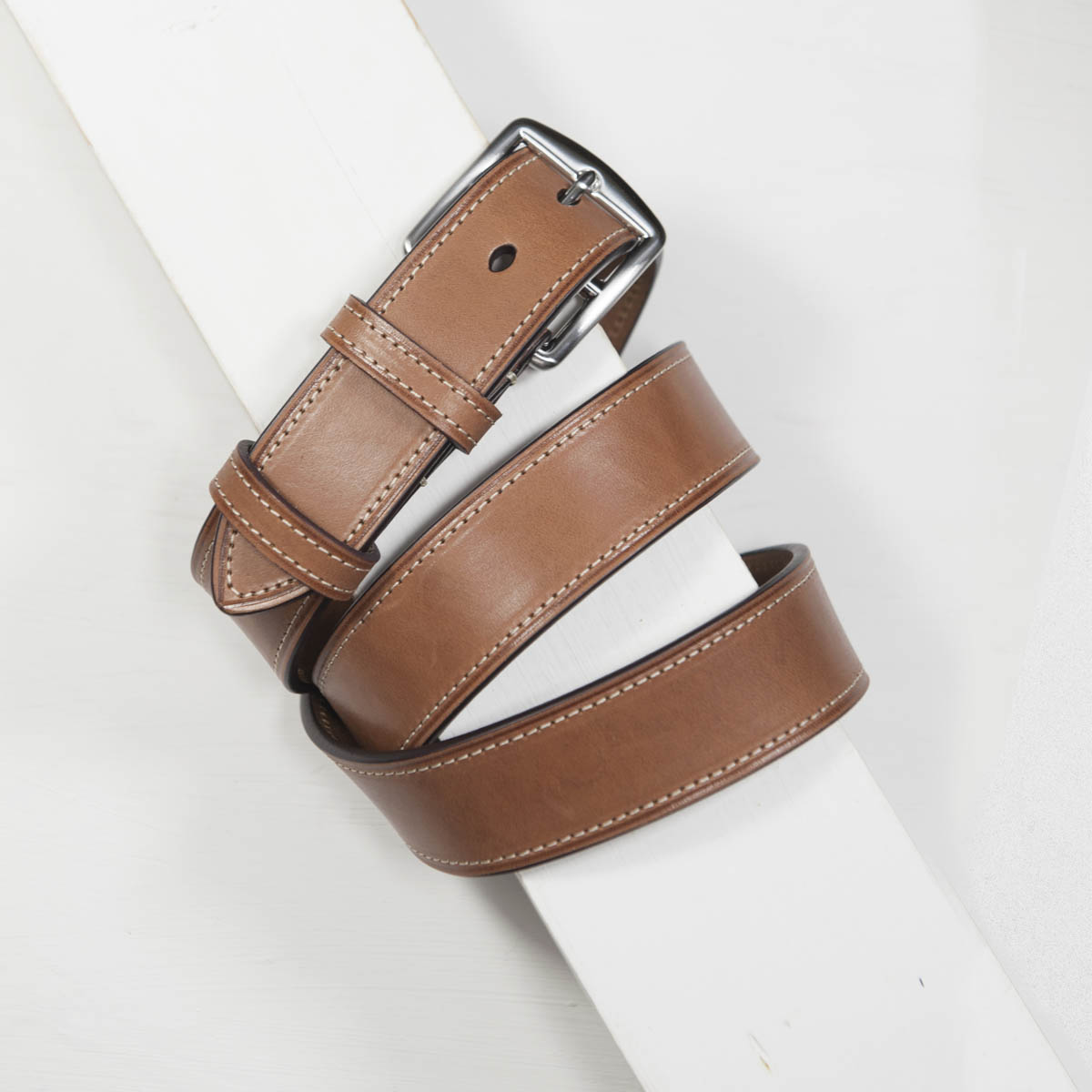 3,5 cm CLASSIC BRIDLE STITCHED LEATHER TAN BELT