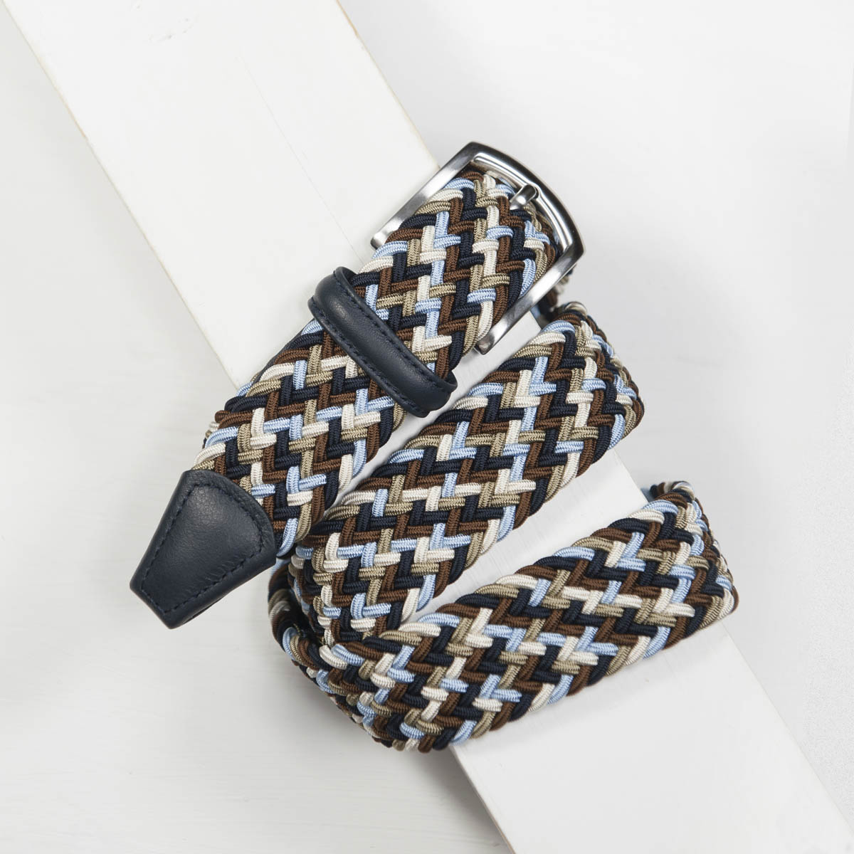3,5 cm CLASSIC MULTI COLOUR ELASTIC WOVEN BELT NAVY/SKY/TAUPE/CREAM