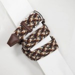 3,5 cm CLASSIC MULTI COLOUR ELASTIC WOVEN BELT BURGUNDY/TAN/CREAM/GREY