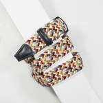 3,5 cm CLASSIC MULTI COLOUR ELASTIC WOVEN BELT NAVY/BLUE/WHITE/YELLOW/PINK