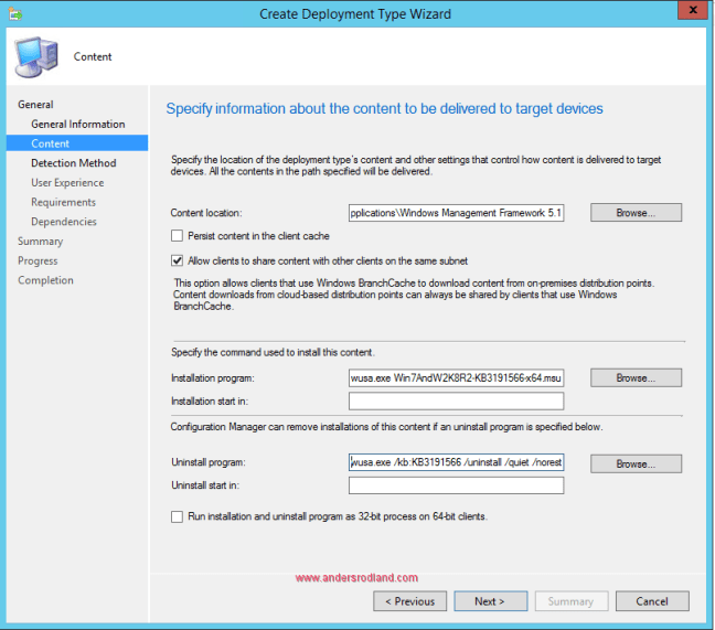 Deploy Windows Management Framework with SCCM - Step 5