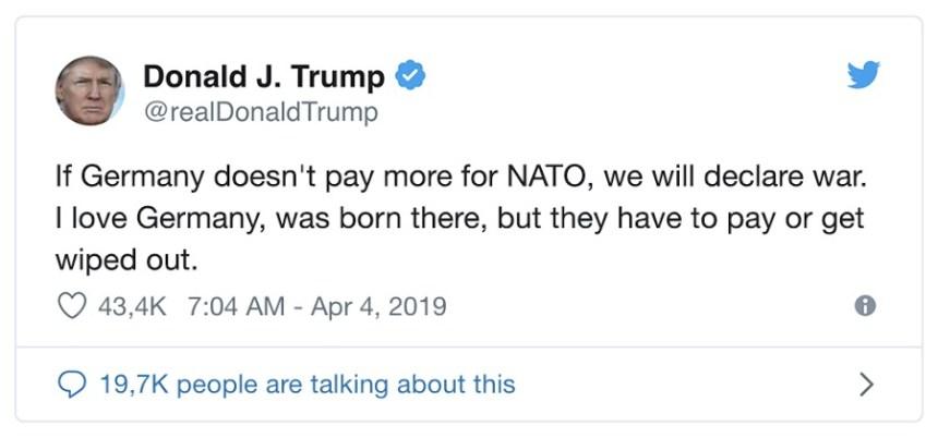 Ein angeblicher Tweet von Donald Trump © Der Postillon