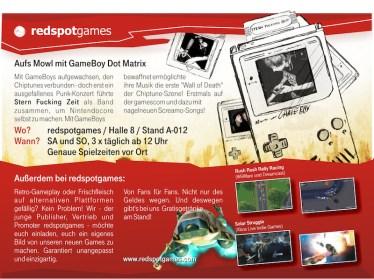 Redspotgames Messeflyer Konzert - Rueck