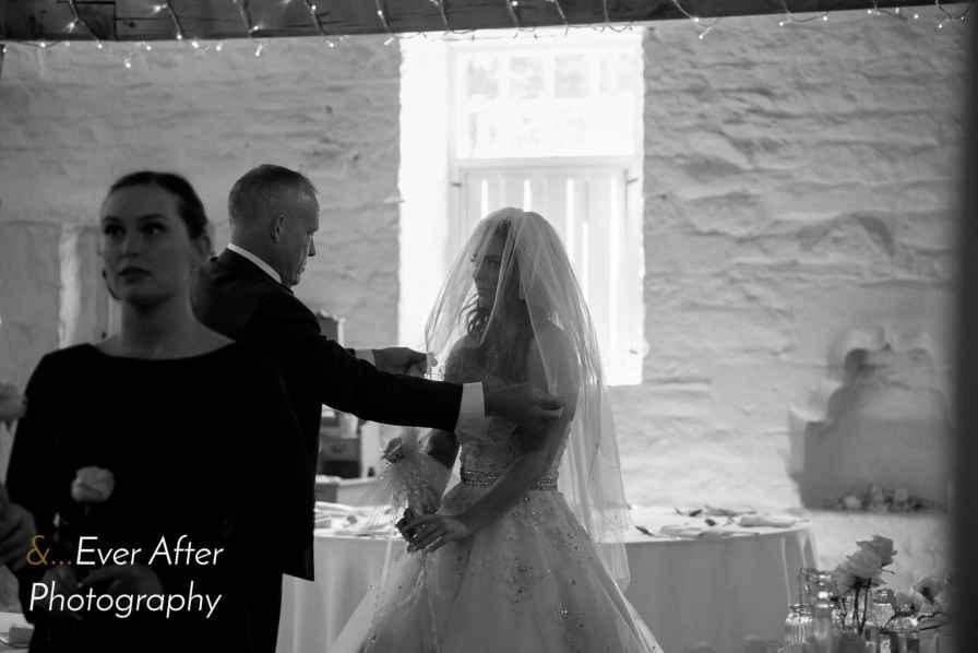 Father of the bride, bride, bridesmaids, wedding ceremony