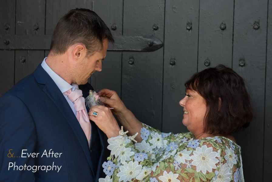 Groom, buttonhole, wedding day,nervous