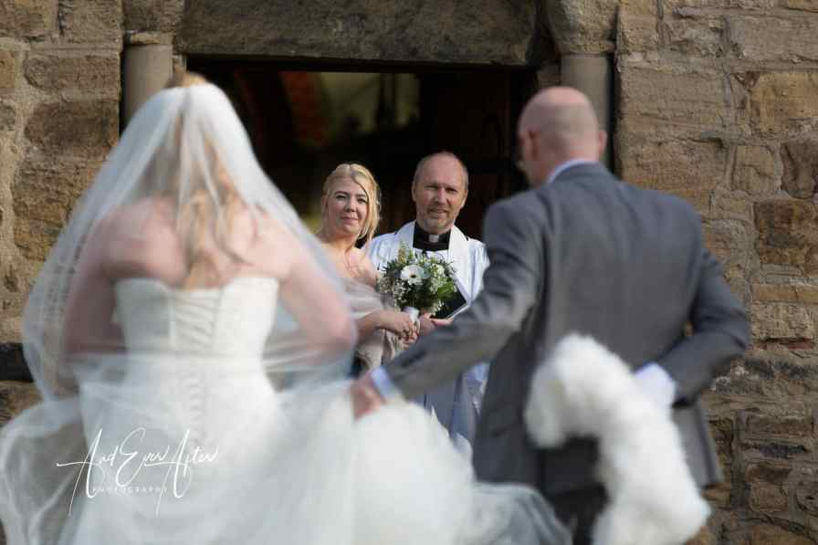 bride, bridesmaid, vicar, church, wedding day