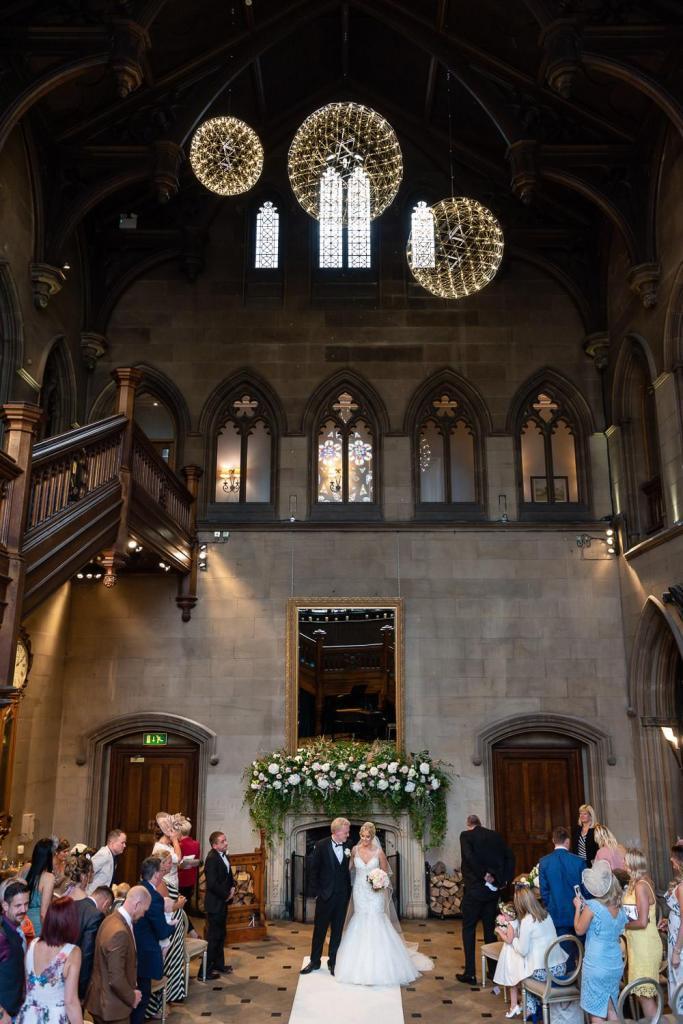 wedding ceremony at Matfen Hall, bride and groom