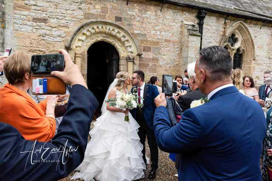 wedding photography at Goldsborough Hall, wedding ceremony and confetti throw