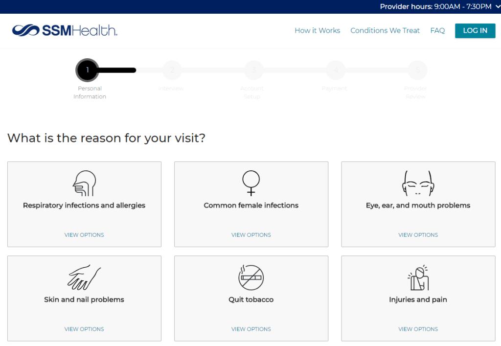 Desktop Virtual Visit Reason