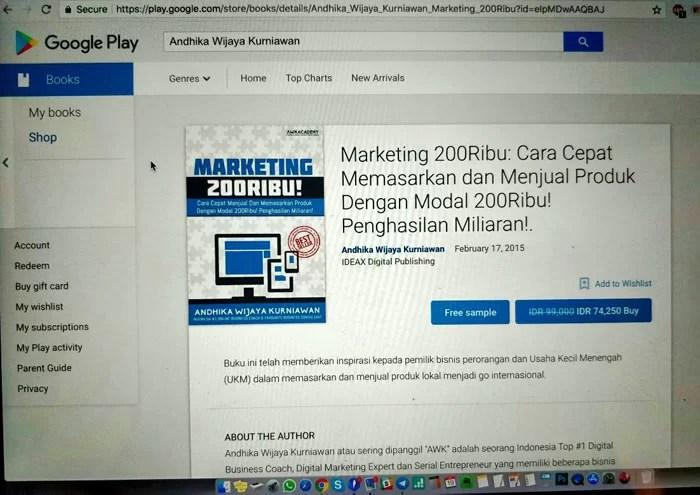 """AWK Notes: Cara Mendapatkan Buku """"Marketing 200Ribu"""" Melalui Google Play Books"""