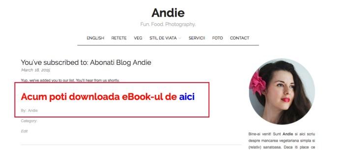 Dupa ce ai confirmat abonarea, vei fi redirectionat catre site de unde vei putea descarca eBook ul.