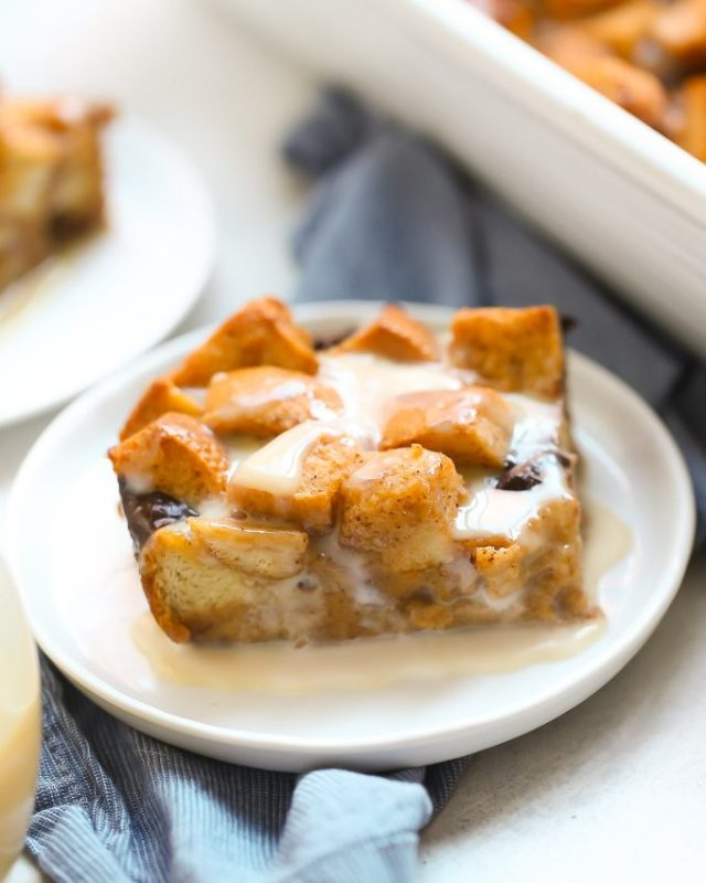 Pumpkin Eggnog Bread Pudding with Chocolate Chips