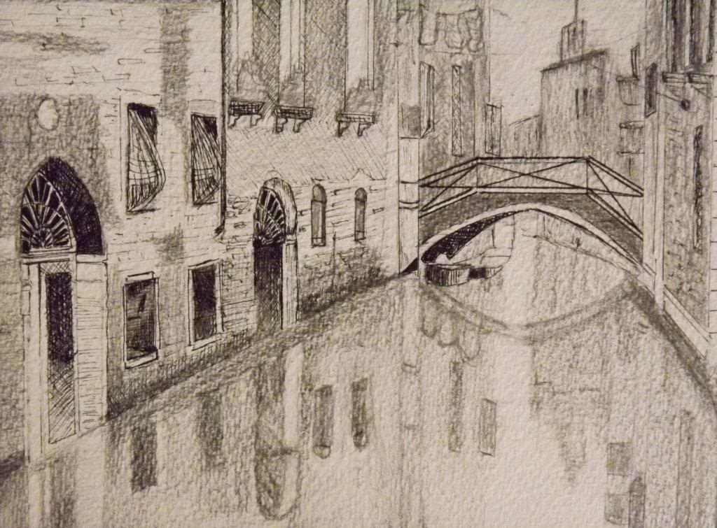 A street in Venice - Ink on paper by Andrea Kucza Andipainting