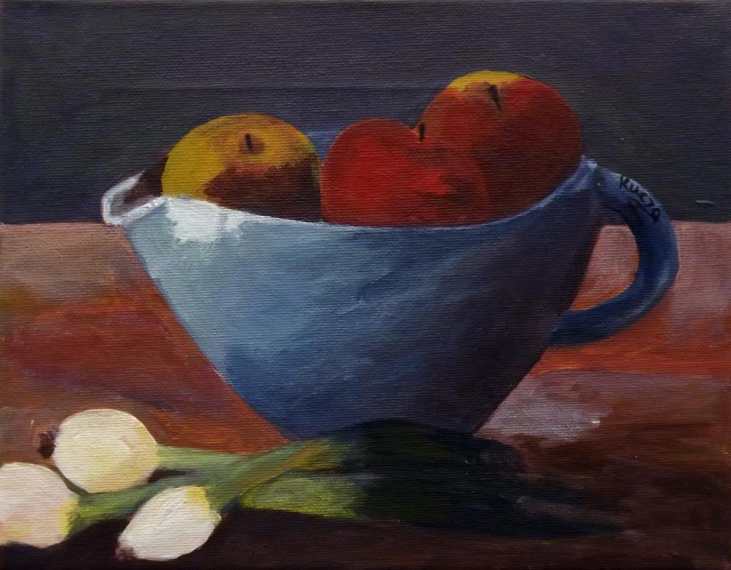 Apples and onions - Acryilic on canvas by Andrea Kucza Andipainting