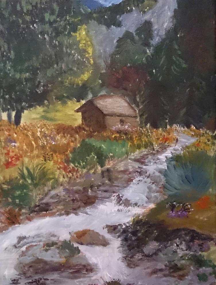 Transylvanian scenery - Acryilic on canvas by Andrea Kucza Andipainting