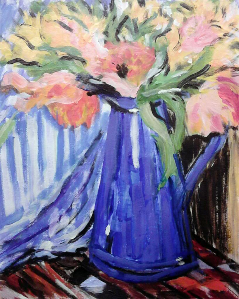 Flowers in vase - Acryilic on canvas by Andrea Kucza Andipainting