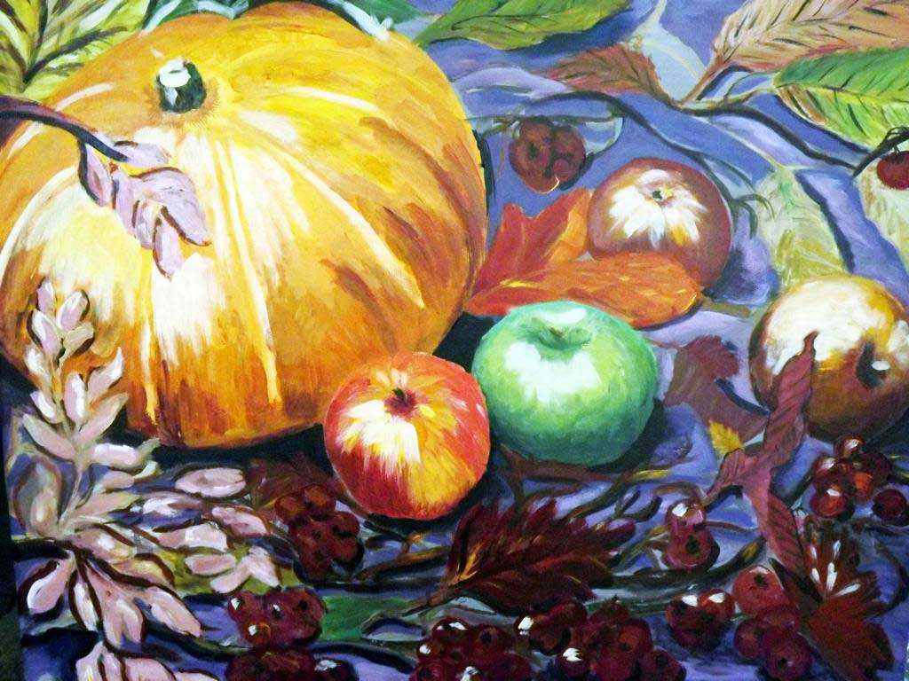 Still life with pumpkin and apples - Acryilic on canvas by Andipainting