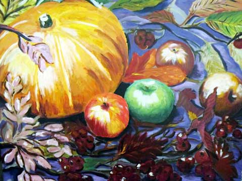 Still life with pumpkin and apples