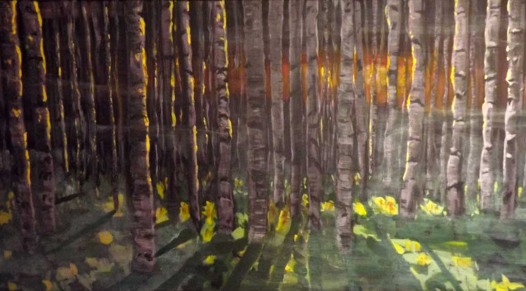 Birch forest - Acryilic on canvas by Andipainting