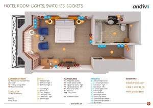 Electrical installations: Electrical layout plan for a typical hotel room | Andivi