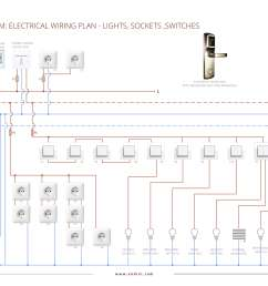 electrical wiring plan hotel room lights sockets switches [ 3475 x 2457 Pixel ]