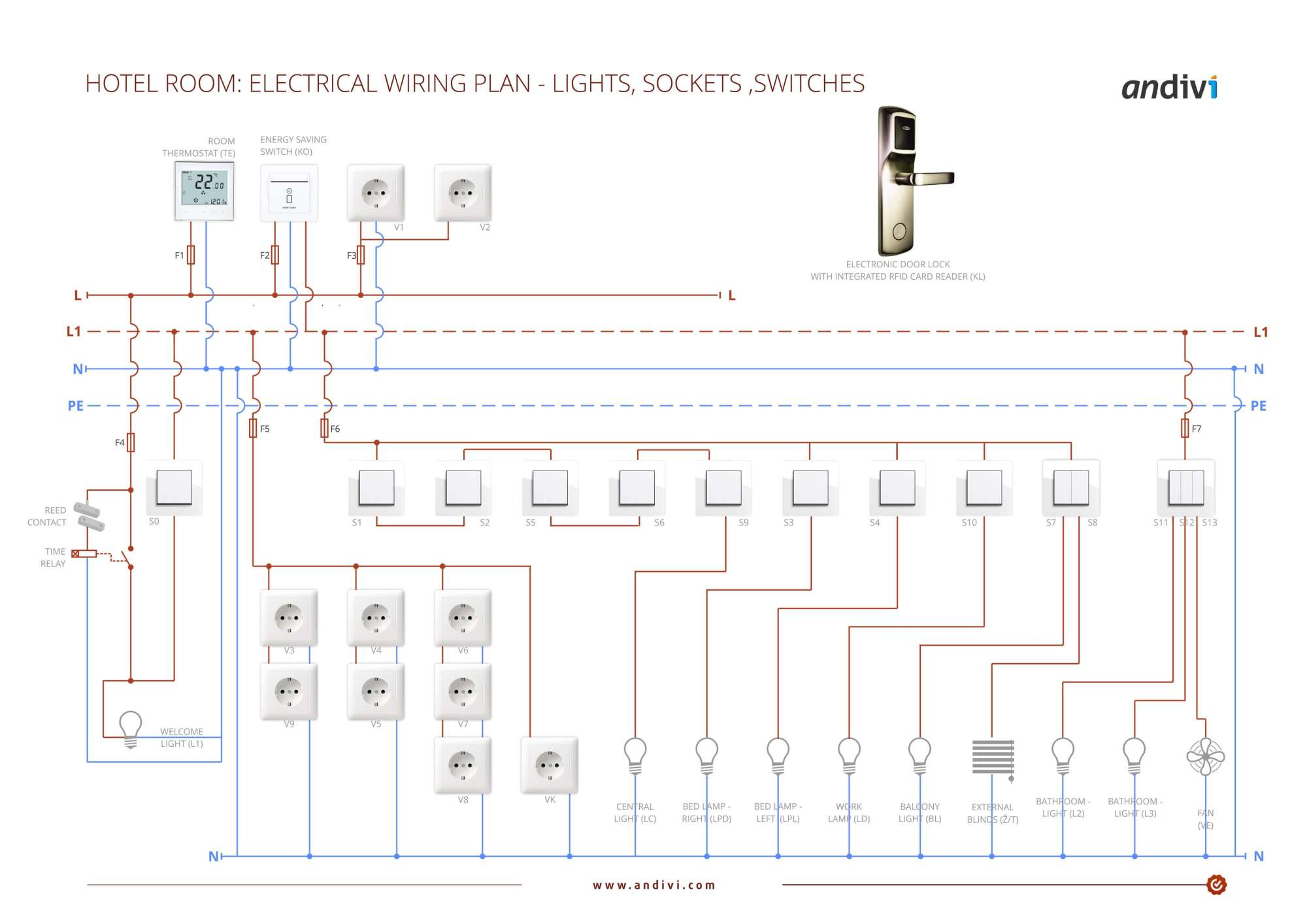 hight resolution of electrical wiring plan hotel room lights sockets switches
