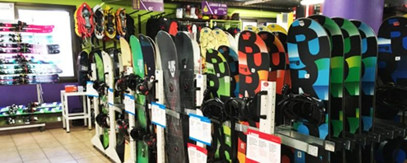 Rental shop snowboards