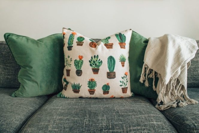 Couch with plants pillow