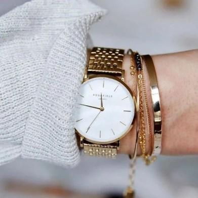 rosefield watch in white pearl