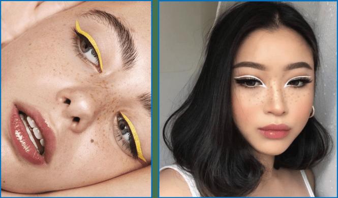 eyeliner giallo e bianco