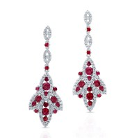 Natural Color White Gold Vintage Ruby Diamond Earrings ...